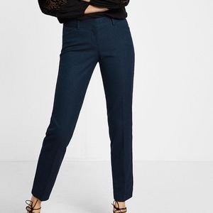 NEW Express Low Rise Editor Ankle Pant Blue Print